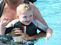 Joe enjoying a splash at Oasis Pools Newquay Cornwall